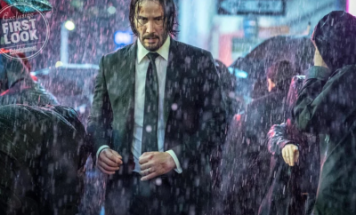 Photo of Keanu Reeves in the rain for John Wick 3