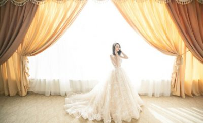 A bride in the middle of a room