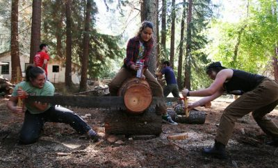 women in top of a log at work