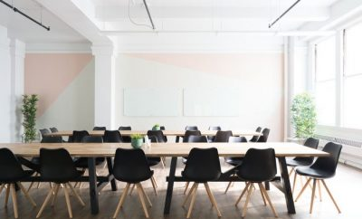 Meeting room with chair and wooden table