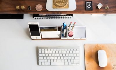 office desk with laptop and mobile