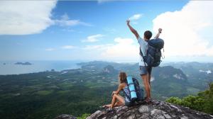 couple on a mountain summit