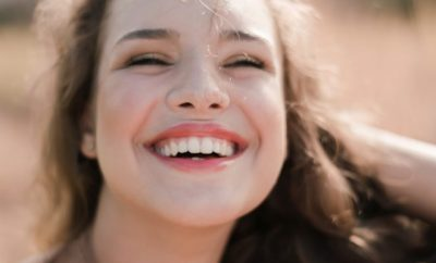 Woman happily smiling