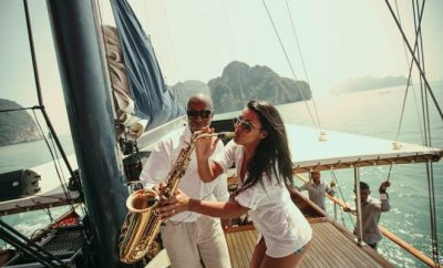 Saxophone, Jazz, boat ,couple