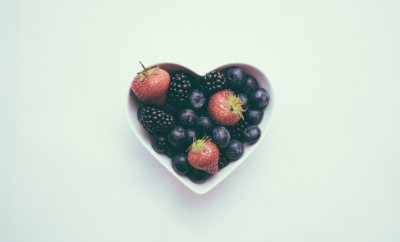 heart shaped bowl with fruit