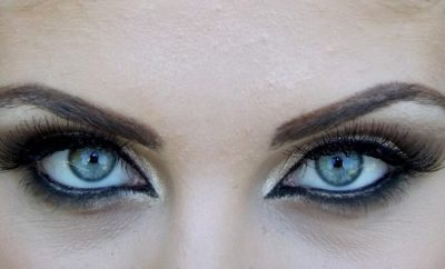close up of woman's smokey eyes
