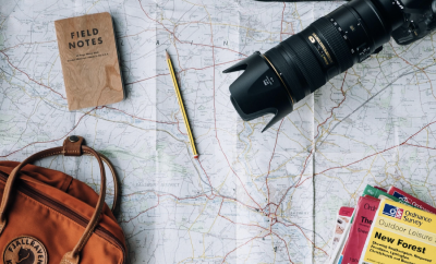 camera, maps, pouch, travel