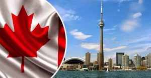 Canadian flag and Canadian city