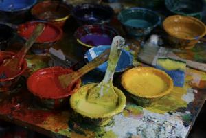 Pots with paint