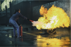 woman putting blaze off