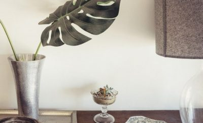 Plant in a silver vase, home decor