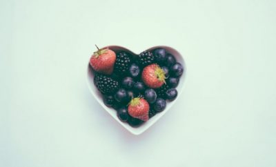 Heart-shaped Fruit bowl with berries