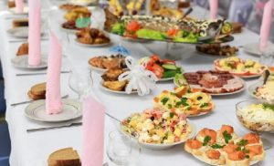Catering, table with food