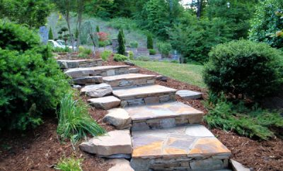 Natural stone used in a garden pathway