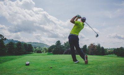 Golfer swinging the club