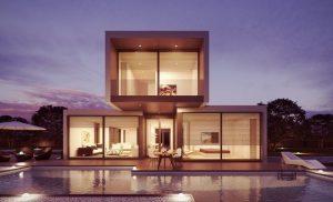 Modern home lit up