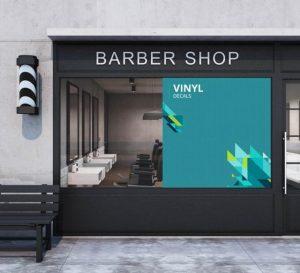 Vinyl sticker on barber window