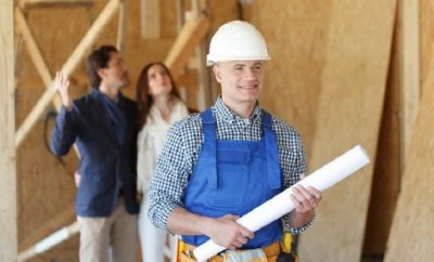 architect inspecting a house structure