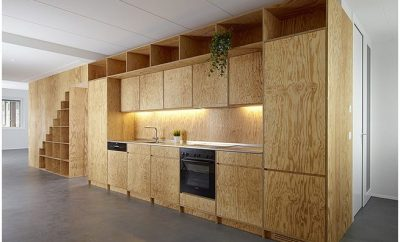 Plywood kitchenette
