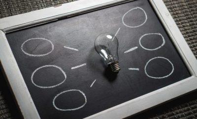 business idea, black & white blackboard
