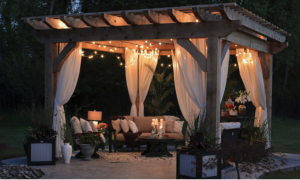 outdoor setting with blinds