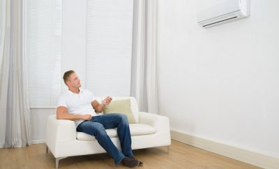 man enjoying air-conditioning