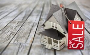 cardboard house and sale red sign