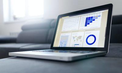 Data analytics on laptop screen