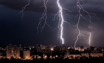 Storm and lightning over a city