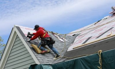 Man restoring a roof, roof,