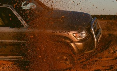 4WD in the red sand. Driving, Cars