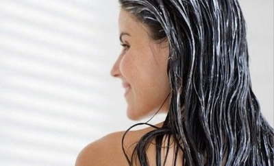 woman with hair mask on