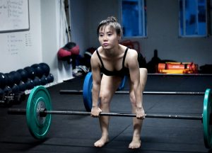 Lady weight lifter