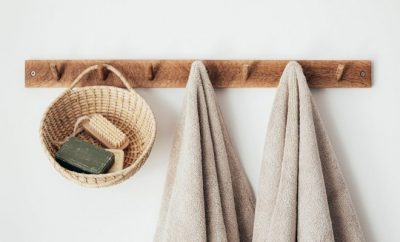 Towels hanging on a towel rack