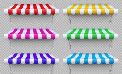 Multiple colourful awnings