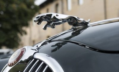 Shot of the front of a Jaguar