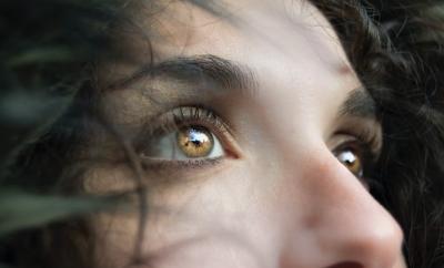 Woman gazing away, eyes, hazel eyes