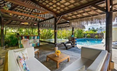 Cozy cabana close to a swimming pool