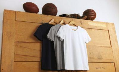 Three t-shirts hung up