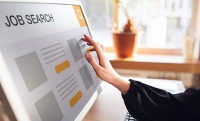 woman scrolling through online job search