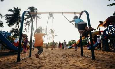 Kids playing in swings in the playground