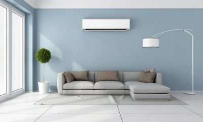 Lounge room with air conditioner