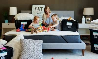 mother with children on her bed